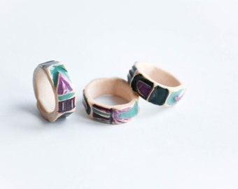 LITTLE GEOMETRIC statement RINGS, Ceramic modern jewellery, Geometric jewellery, Christmas gift for teenager, Geometric ring, Pink, Purple