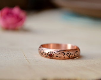Engagement Red CZ ring for her, black zirconia ring, Rustic floral ornament, boho girl thin ring, copper etching ring, Copper ring