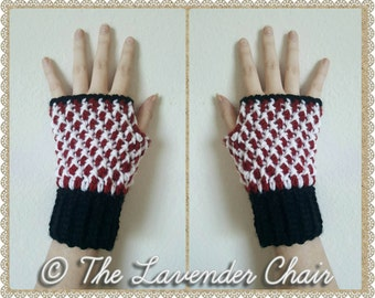 Mrs. Clause's Peppermint Fingerless Gloves *PDF FILE ONLY* Instant Download
