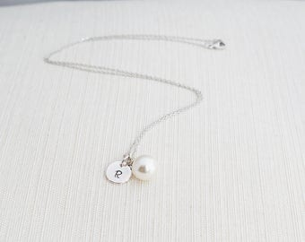 Silver Initial & Pearl Necklace , Silver Pearl Necklace, Personalised Jewellery, Bridesmaid Gift, Wedding Jewelry