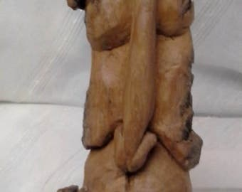 Huge Long Faced Hand Carved Cottonwood Wizard Tree Spirit