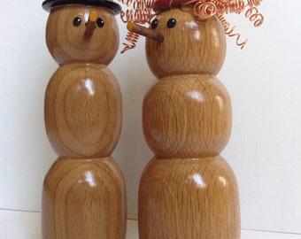 Snowman Couple hand turned solid oak wood
