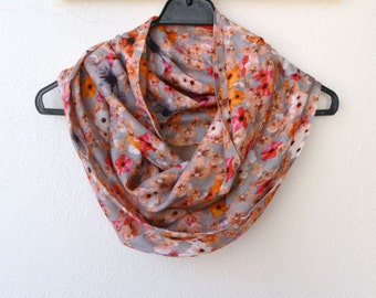 Very Soft Cotton Infinity Scarf with Spring Flower Print, Orange Ecru Red Yellow Flowers, Summer Fashion, Women Accessories, Spring, Fall
