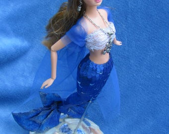 "Custom OOAK Exotic Mermaid Red Haired Barbie Art Doll ""Abria"" w/ Attached Sea Bottom Stand"