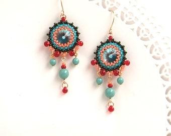 Turquoise earrings, Turquoise chandelier earrings, Turquoise dangle earring, Wife gift, Coral & turquoise earring, Beaded chandelier earring