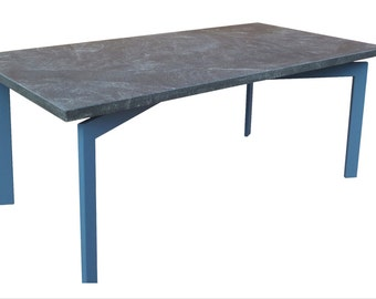 Rectangular Stone Dining Table with Blue Steel Base