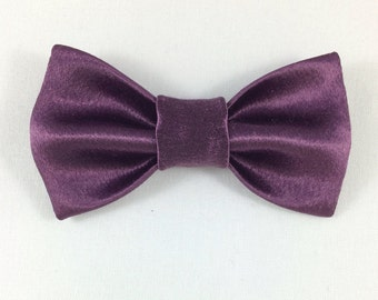 Purple Satin Bow tie, Cat tie, Cat Bow tie collar, Wedding Cat Bow tie