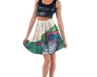 Hobbit Flirt Skirt, Lord of the Rings Printed Hobbiton Flared Spandex Skirt