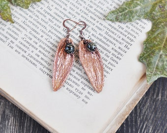 Earrings from sage leaves, serpentine jewellery, electroformed leaves, botanical jewelry, copper dipped, electroforming sage, electroform