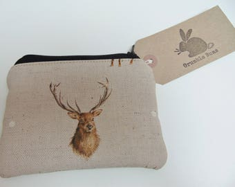 Handmade Stag Coin Purse, Wrendale Designs Fabric, Country Animals, Deer Coin Wallet