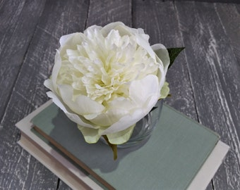 Artificial white silk peony Silk flower arrangements Mothers Day gift Artificial Faux White peonies bouquet small glass sphere vase Present