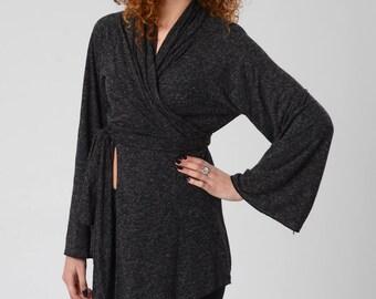 Kimono Cardigan, Gray Wrap Top, Women's Boho Kimono Top, Wrap Cardigan, Bell Sleeve Top, Boho Kimono, Long Sleeves Cardigan, Asymmetric Top