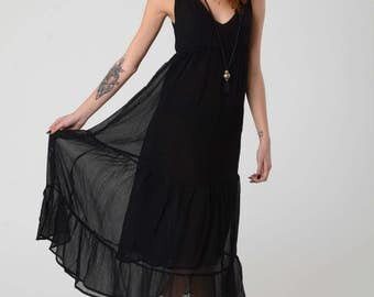 Black Maxi Chiffon Dress, Summer Sleeveless Dress, Boho Maxi Dress, Woman's Black Layered Dress, Hippie Evening Dress, Loose maternity dress