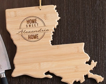 Louisiana State Shaped Cutting Board, Engraved Louisiana Shaped Cutting Board