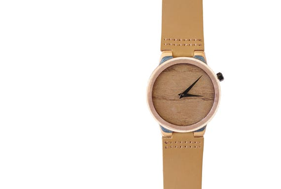 7PLIS watch #01 Recycled SKATEBOARD #madeinfrance blue brown red wood