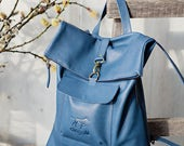 Leather Backpack - Leather Rucksack - Blue Leather Rucksack - Blue Leather Backpack with Zipper - Handmade Leather Rucksack