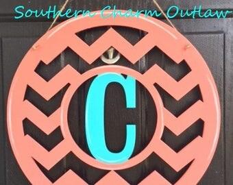 Wood Chevron Monogram Door Hanger - Monogram Door Hanger - Chevron Door Hanger - Monogram Door Decor - Monogram Door Sign- Chevron Door Sign