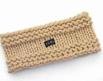Merino Wool Ear Warmer Headband. Thick and chunky. Beige/Linen Colour. Hand Knitted Head/Neck Warmer by HoBo Handmade. Mens or Womens Gift