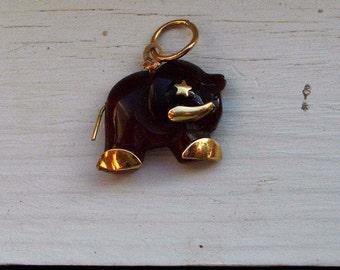 Genuine carnelion solid 18k yellow gold Elephant charm pendant