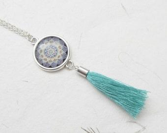 Mandala necklace, tassel necklace, yoga jewelry, yoga necklace