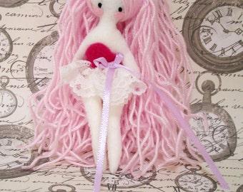 Midinette pink, rag doll, little lady, felt doll