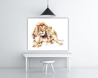 Modern Watercolor Lion Art, Safari Animal Print, Wall Art Watercolor Animal Family Art Print, Lion Decor, Safari Art, Modern Art Painting