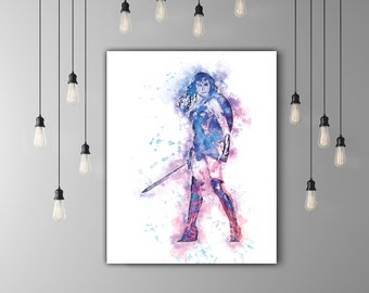 Wonder Woman Art Print Watercolor Wall Art, Comic Art, DC Superhero Girl, Justice League Art DC Comics Movie Room Decor, Wonder Woman Poster