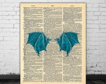 Blue Dragon Wings Wall Decor, Dictionary Art, Fantasy Poster, Wall Art Vintage Paper Artwork Print, Dragon Art, Dictionary Page Dragon Print
