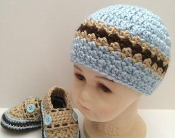 Crochet Baby boy Set, Crochet Baby Boy Hat and Shoes, Crochet Baby Loafers, Crochet Baby Hat, Baby Boy Accessories, Baby Boy Clothing