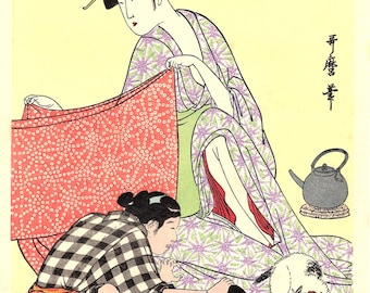 "Japanese Ukiyoe, Woodblock print, antique, Utamaro,  ""Needlework"""