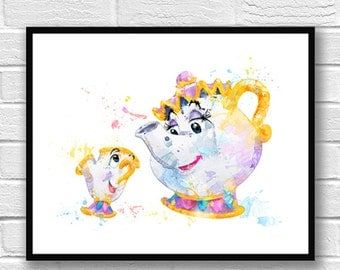 Beauty and the Beast Watercolor Print, Chip and Mrs Potts, Belle, Disney Art, Movie Poster, Nursery, Kids Room Decor, Wall Art, Gift - 700