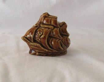 Vintage ceramic toothpick holder shaped as pirate ship, Toothpick holder, Vintage Toothpick holder, Ceramic toothpick holder, Toothpick case