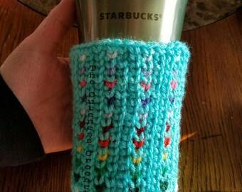 Crochet Rainbow Tiny Hearts Cup/Coffee Cozy, Sleeve, ECO Friendly, Reusable