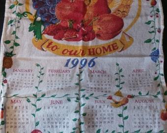 SALE Vintage 1996 Cotton Tea Towel Calendar Welcome To Our Home Fruit Pineapple