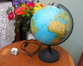 WORLD GLOBE LAMP - by Rico - World atlas lamp - travel - desk light - office light - office furniture - vintage 1960's - Father's Day gift