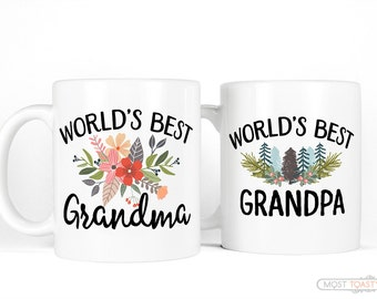 New Grandparent Gifts | Coffee Mug Set | Worlds Best Grandma Mug Worlds Best Grandpa Mug Set-Couples Mugs-Rustic Gifts for Grandparents Mugs