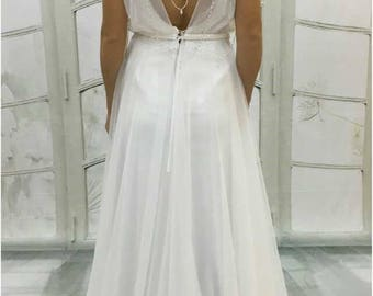 Boho Vintage Inspired A-Line Chiffon Wedding Dress with Illusion Neckline, Cap Sleeves, Open Back, beach wedding, boho wedding dress