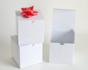 """White Gift Boxes, 10 Gift Boxes, White Favor Boxes, Wedding Favor Boxes, White Boxes, Paper Boxes, Christmas Gift Box 4x4x4"""""""