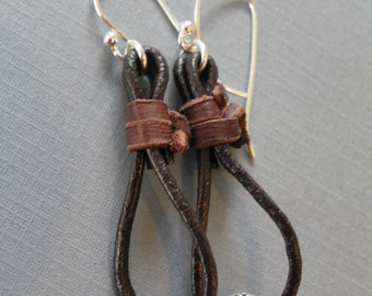Sundance Style Earrings, Sterling Silver and Leather, Leather Hoop Earrings, Silpada Earrings, Boho Earrings