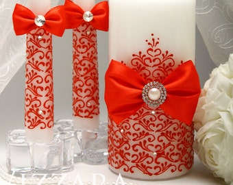 Personalized unity candle RED Unity Ceremony Set Unity candle set Wedding Unity Candle Wedding Red Wedding candles Unity Candles red