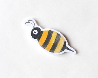 Bumble Bee sticker, Cute Cool Laptop Sticker, Watercolor Illustration