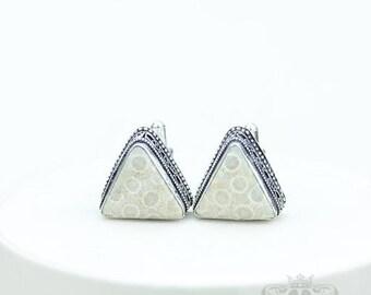 Fossilized Bali Coral Vintage Filigree Antique 925 Fine S0LID Sterling Silver Men's / Unisex CUFFLINKS k728