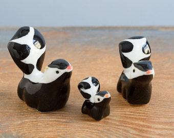 Set of 3 Vintage Miniature Bone China Skunk Figurine - Shiken, Japan