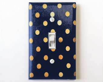 Navy and Gold dots light switch plate - Gold room decor - Navy blue nursery - Navy blue room decor - Modern home decor - Gold decor
