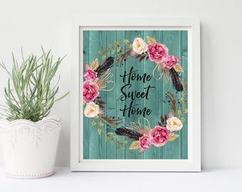 Home Sweet Home Printable, Rustic Wall Decor, Boho Wall Decor, Home Printable Art, Home Sweet Home, Living Room Wall Art, Living Room Decor