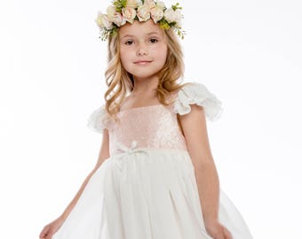 Blush Pink Flower Crown -- Blush Pink Roses Flower Crown -- Flower Girl Flower Crown -- Bridesmaids Flower Crown