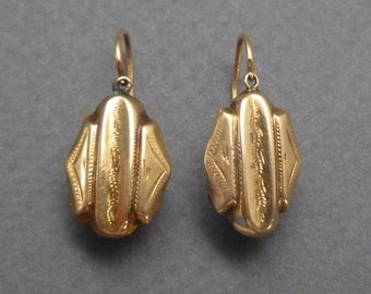 18K early front loader earrings c 1840