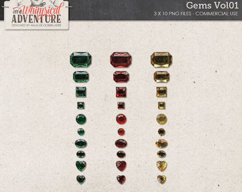 Gems, Gemstones, Commercial Use OK, Digital Scrapbooking Embellishments, Instant Download, Red, Yellow, Emerald, Faux Gems, Trinkets, Jewels