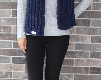 Forest Green/Navy Block Chunky Scarf