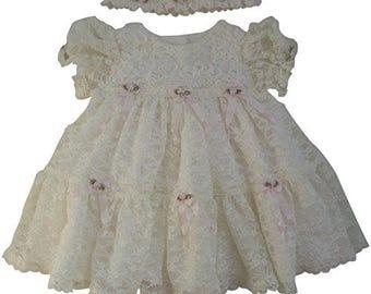 Ivory Lace and Ruffles Baby Dress and Headband